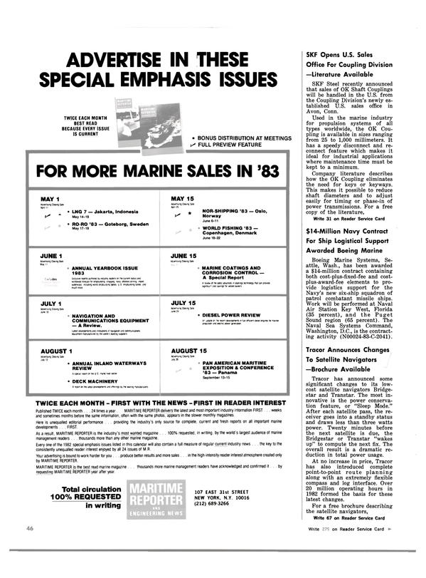 Maritime Reporter Magazine, page 48,  Mar 15, 1983 New York
