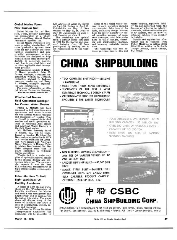 Maritime Reporter Magazine, page 53,  Mar 15, 1983