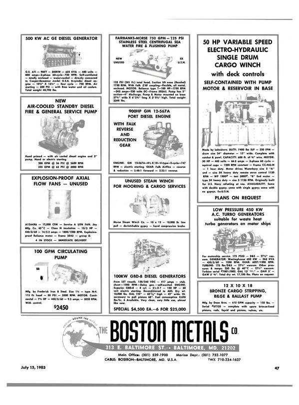 Maritime Reporter Magazine, page 43,  Jul 15, 1983