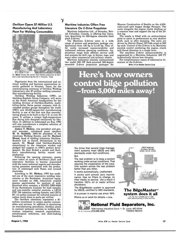 Maritime Reporter Magazine, page 15,  Aug 1983