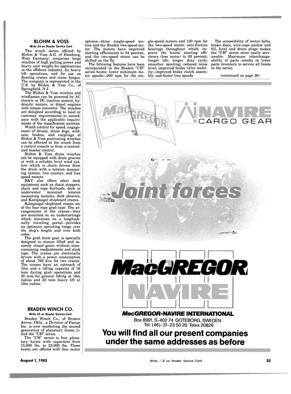 Maritime Reporter Magazine, page 23,  Aug 1983