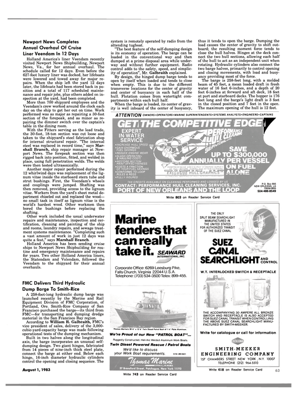 Maritime Reporter Magazine, page 63,  Aug 1983