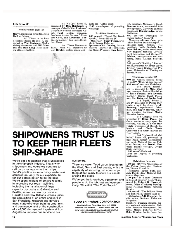 Maritime Reporter Magazine, page 14,  Oct 1983 Washington