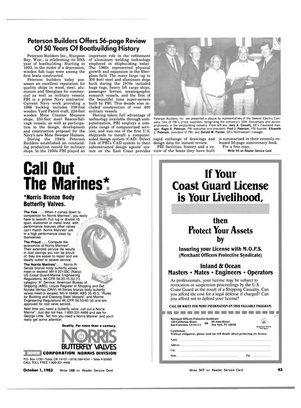 Maritime Reporter Magazine, page 39,  Oct 1983