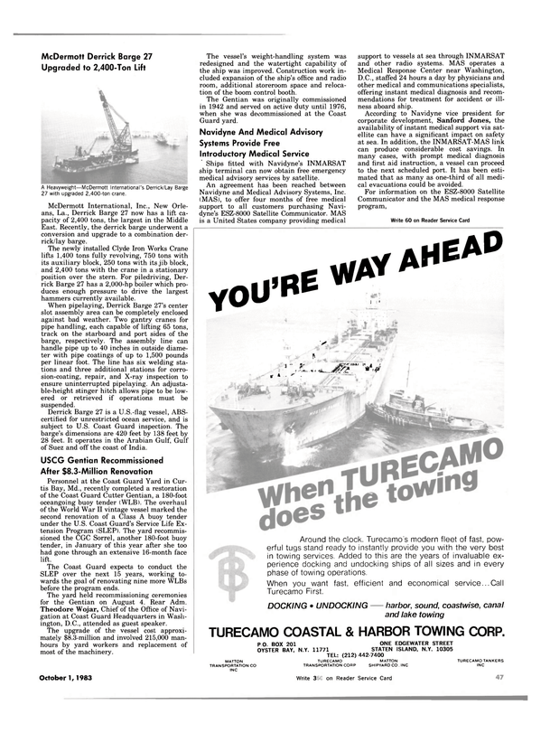 Maritime Reporter Magazine, page 43,  Oct 1983