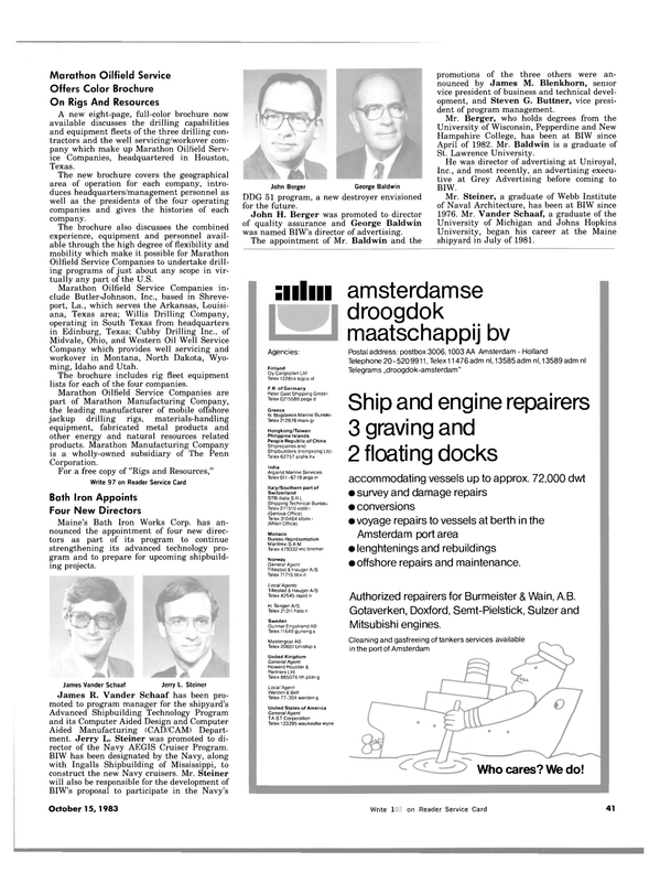 Maritime Reporter Magazine, page 43,  Oct 15, 1983