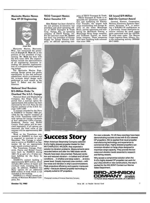 Maritime Reporter Magazine, page 7,  Oct 15, 1983