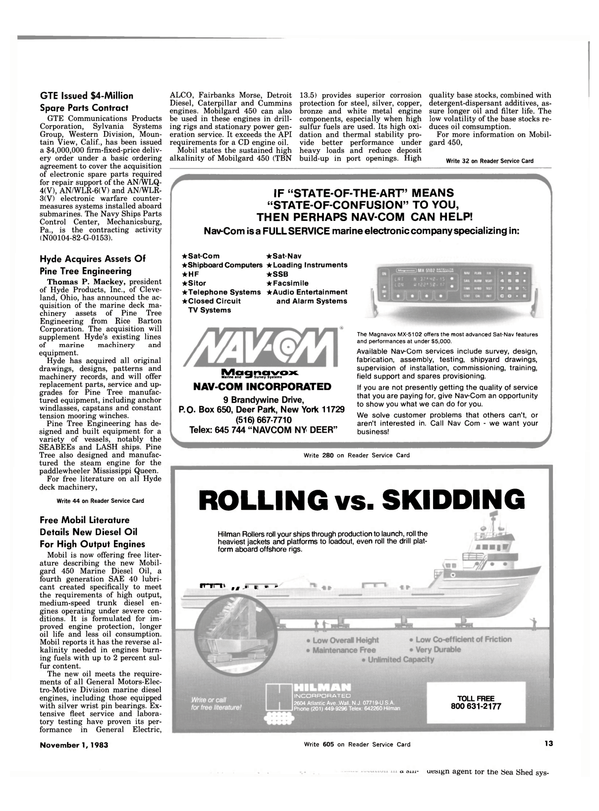 Maritime Reporter Magazine, page 11,  Nov 1983 New York