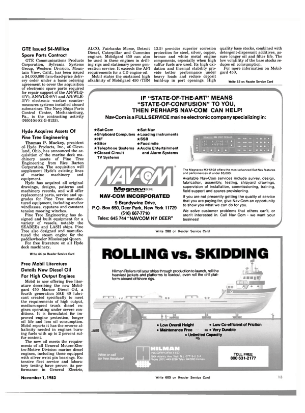 Maritime Reporter Magazine, page 13,  Nov 1983 New York