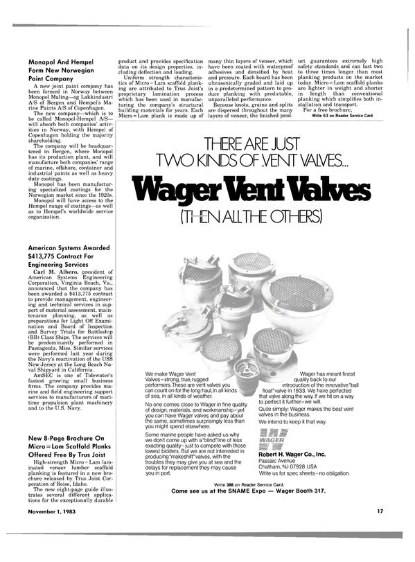 Maritime Reporter Magazine, page 17,  Nov 1983