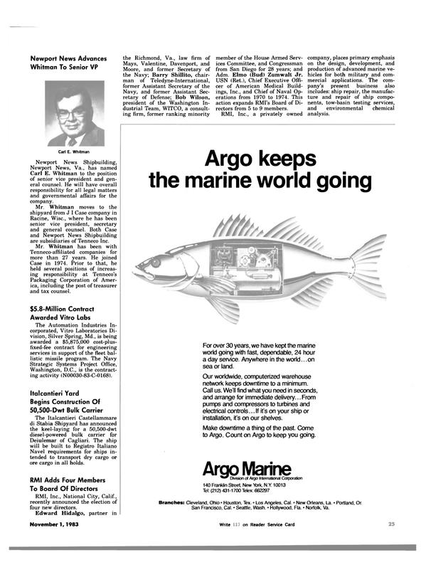 Maritime Reporter Magazine, page 27,  Nov 1983