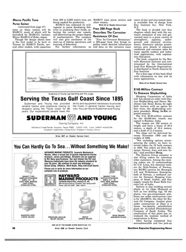 Maritime Reporter Magazine, page 46,  Nov 1983