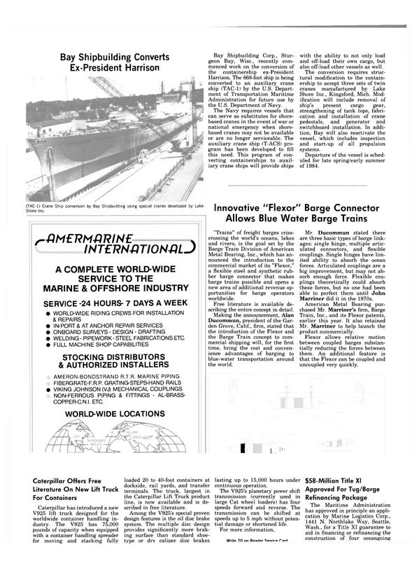 Maritime Reporter Magazine, page 86,  Nov 1983