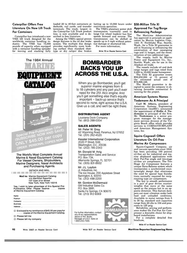 Maritime Reporter Magazine, page 90,  Nov 1983