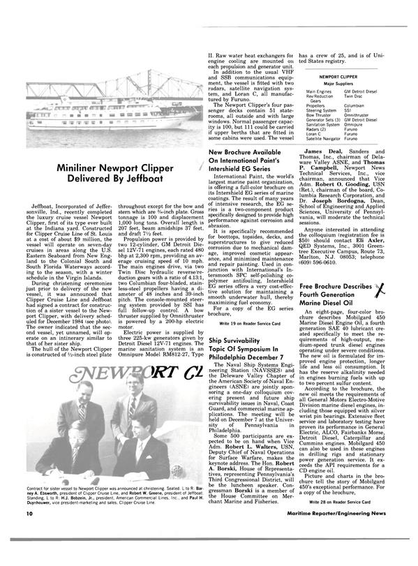 Maritime Reporter Magazine, page 8,  Nov 15, 1983 South Florida