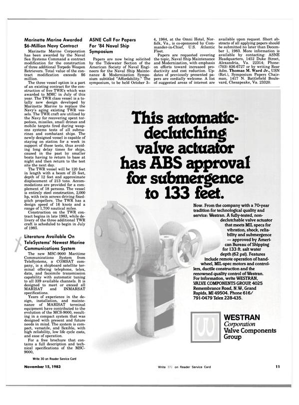 Maritime Reporter Magazine, page 9,  Nov 15, 1983 Bureau of Shipping