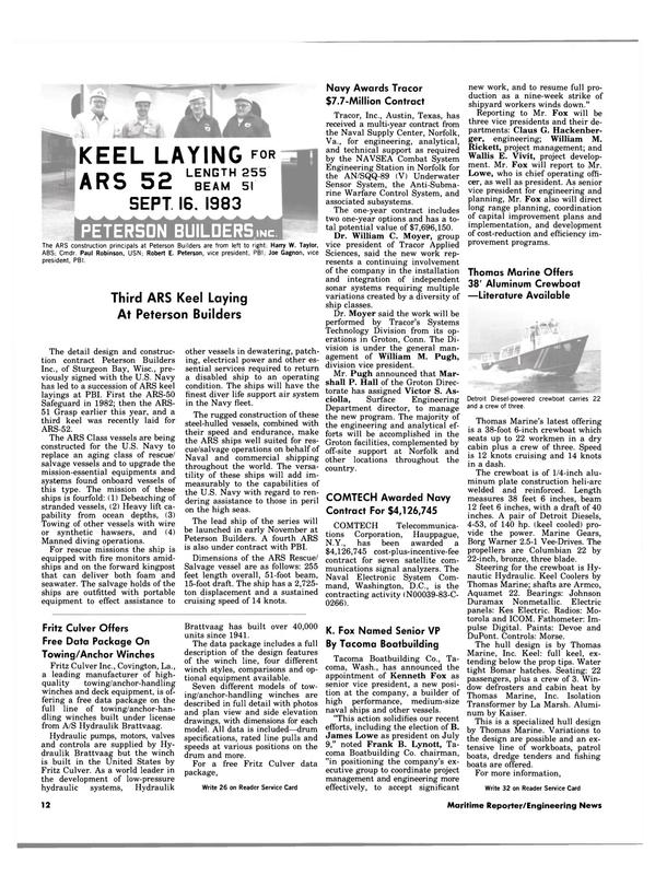 Maritime Reporter Magazine, page 10,  Nov 15, 1983 New York