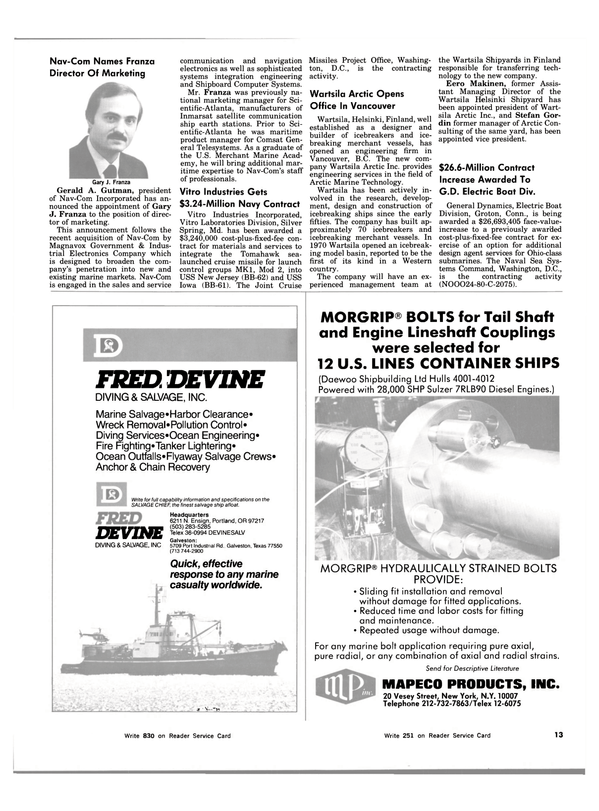 Maritime Reporter Magazine, page 11,  Nov 15, 1983