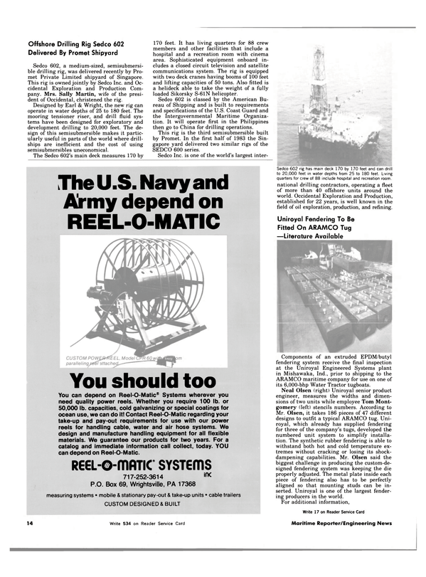 Maritime Reporter Magazine, page 12,  Nov 15, 1983 Pennsylvania