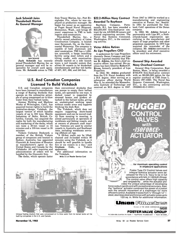 Maritime Reporter Magazine, page 27,  Nov 15, 1983