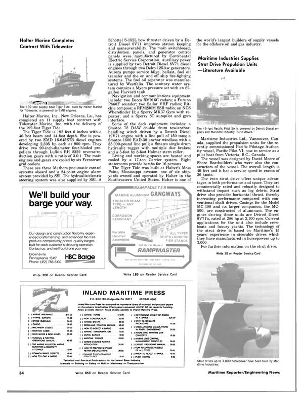 Maritime Reporter Magazine, page 34,  Nov 15, 1983