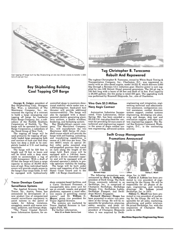 Maritime Reporter Magazine, page 6,  Nov 15, 1983 Virginia