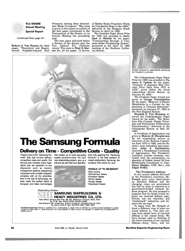 Maritime Reporter Magazine, page 20,  Dec 15, 1983