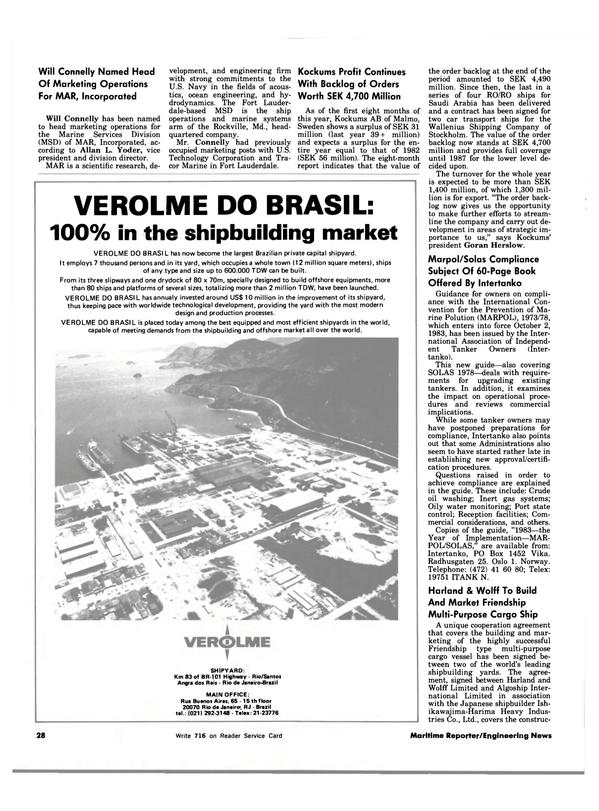 Maritime Reporter Magazine, page 28,  Dec 15, 1983