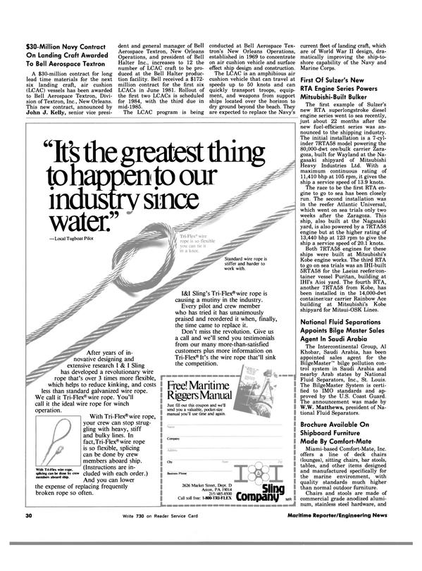Maritime Reporter Magazine, page 30,  Dec 15, 1983 W.W. Matthews