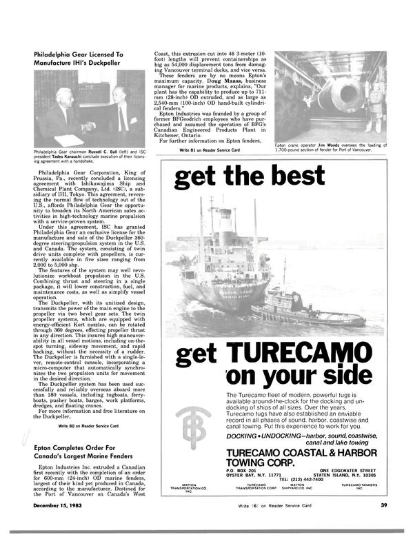 Maritime Reporter Magazine, page 39,  Dec 15, 1983