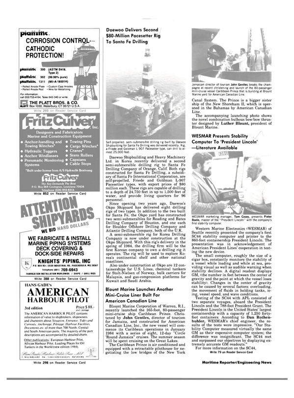 Maritime Reporter Magazine, page 40,  Dec 15, 1983 The World