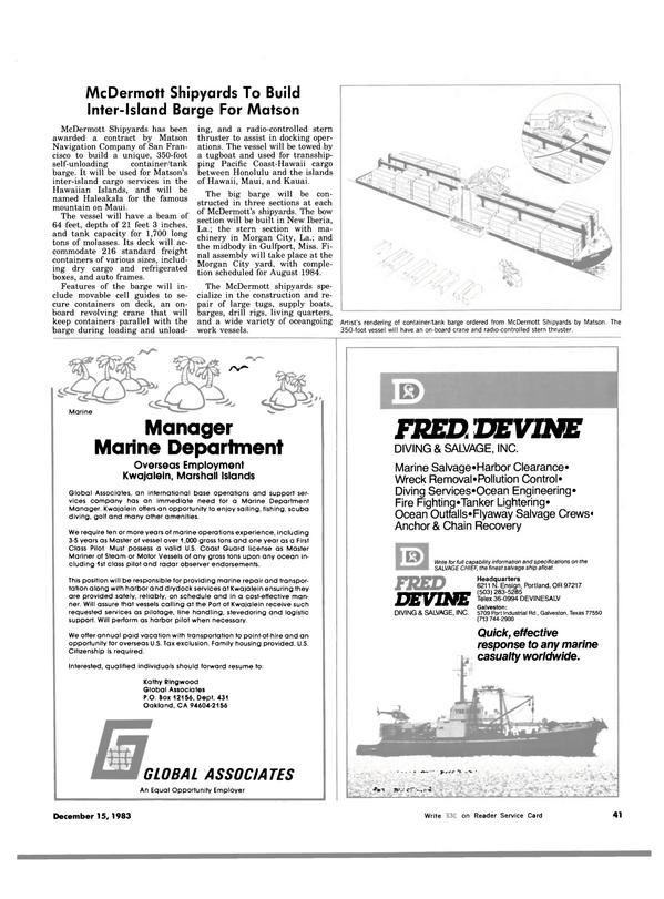 Maritime Reporter Magazine, page 41,  Dec 15, 1983