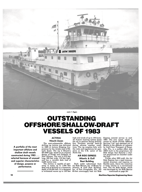 Maritime Reporter Magazine, page 16,  Jan 1984 Justin T. Rogers