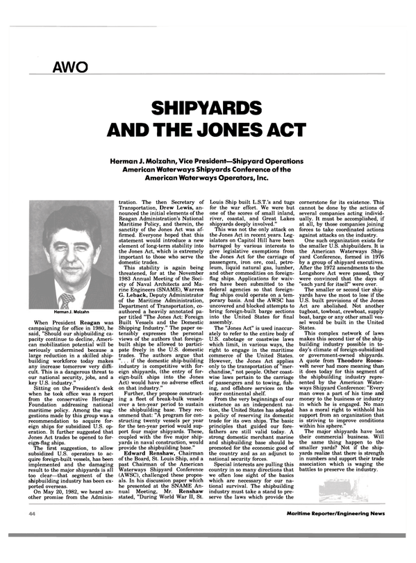 Maritime Reporter Magazine, page 44,  Jan 1984 Drew Lewis