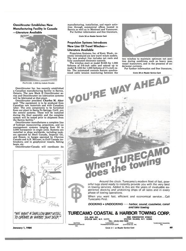 Maritime Reporter Magazine, page 49,  Jan 1984 California