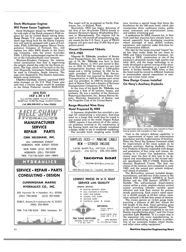 Maritime Reporter Magazine, page 56,  Jan 1984
