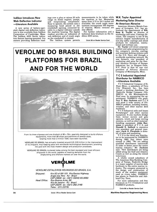 Maritime Reporter Magazine, page 12,  Jan 15, 1984