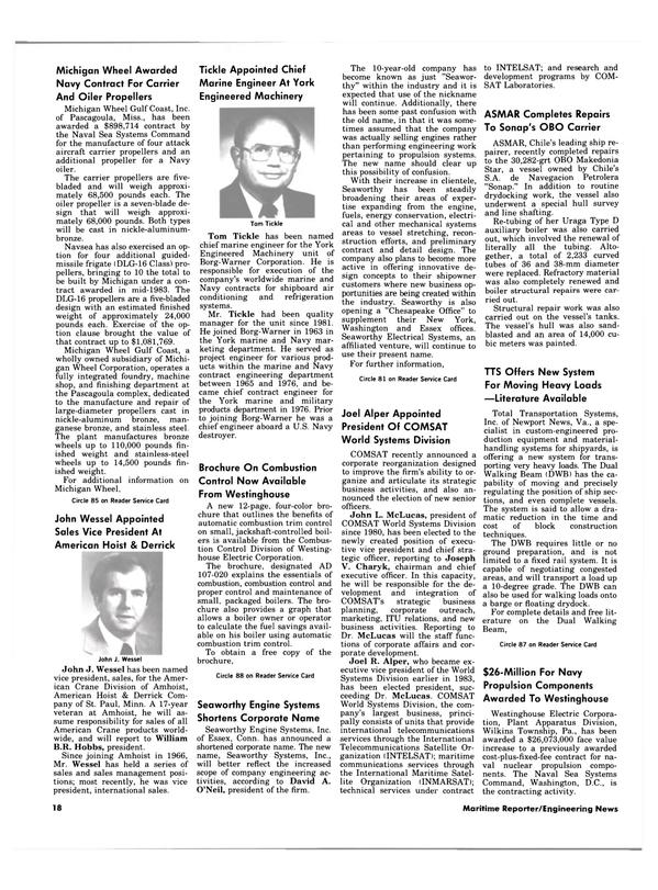 Maritime Reporter Magazine, page 16,  Jan 15, 1984 Michigan