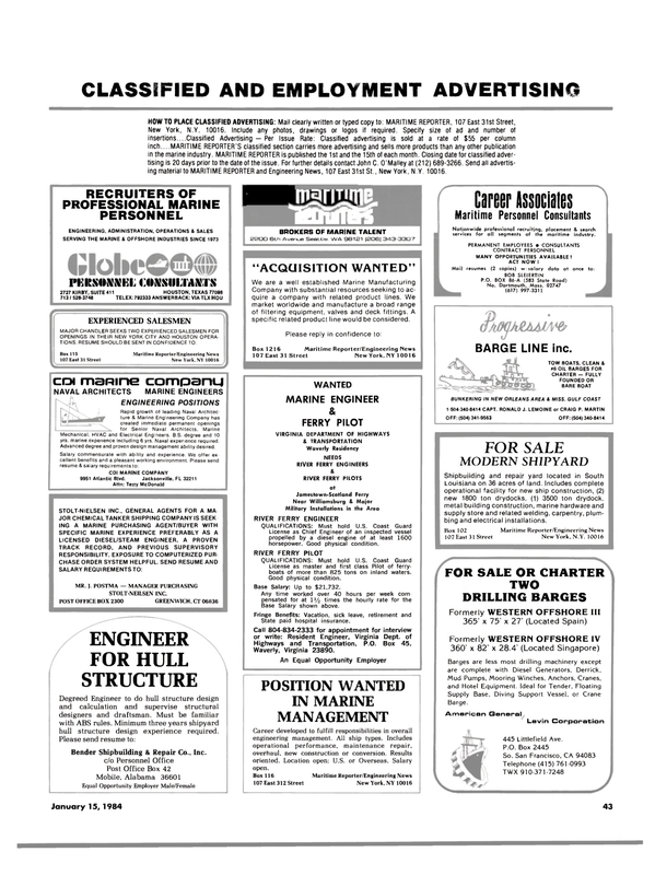 Maritime Reporter Magazine, page 41,  Jan 15, 1984