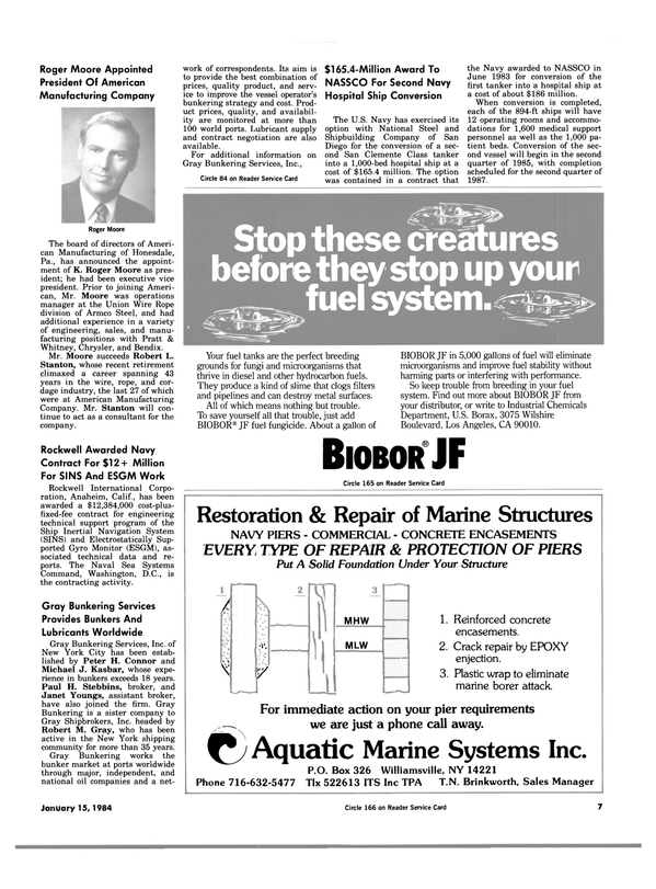Maritime Reporter Magazine, page 5,  Jan 15, 1984 K. Roger Moore