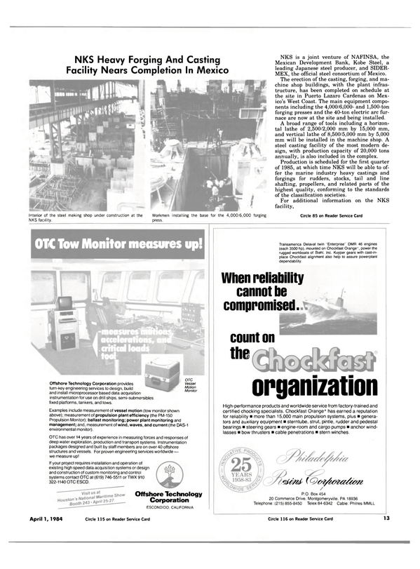 Maritime Reporter Magazine, page 11,  Apr 1984 California