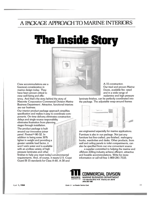 Maritime Reporter Magazine, page 31,  Apr 1984 Ill MA50IMITE CORPORATION