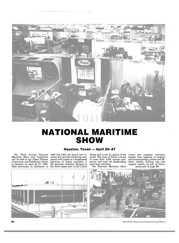 Maritime Reporter Magazine, page 82,  Apr 1984 Exhibition Center