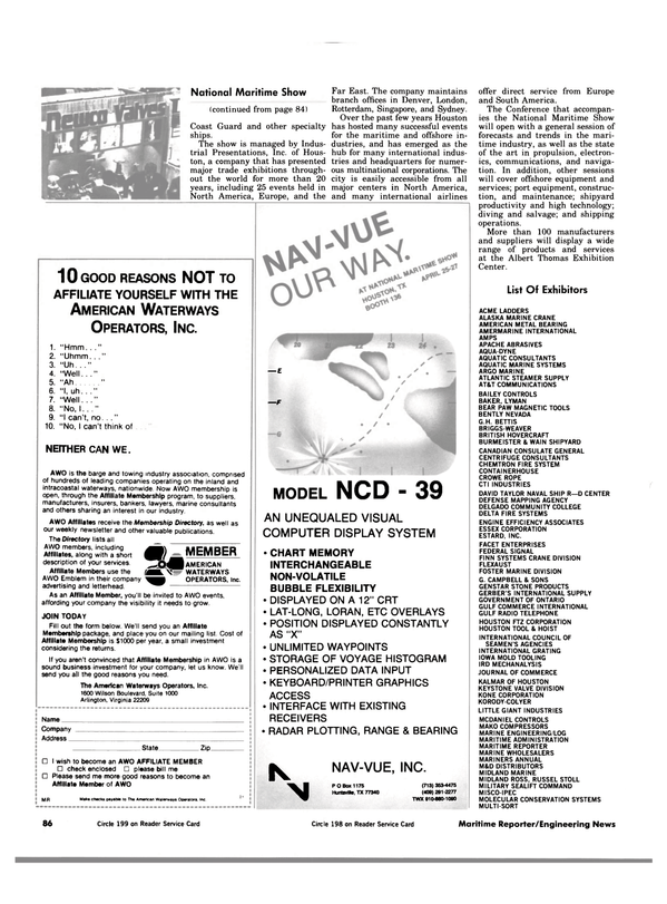 Maritime Reporter Magazine, page 84,  Apr 1984 Iowa