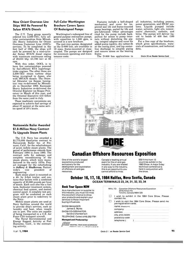 Maritime Reporter Magazine, page 93,  Apr 1984 James E. Myles