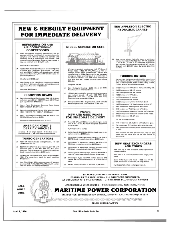 Maritime Reporter Magazine, page 95,  Apr 1984 sq. ft. lube oil cooler