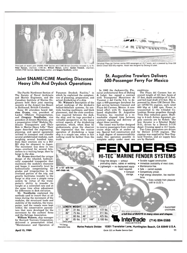 Maritime Reporter Magazine, page 9,  Apr 15, 1984