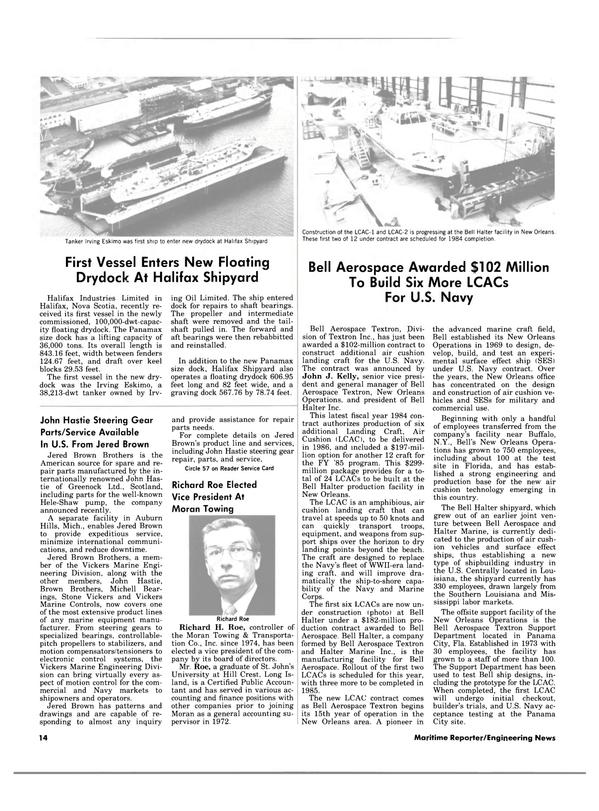 Maritime Reporter Magazine, page 12,  Apr 15, 1984 Michigan