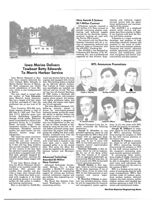 Maritime Reporter Magazine, page 16,  Apr 15, 1984