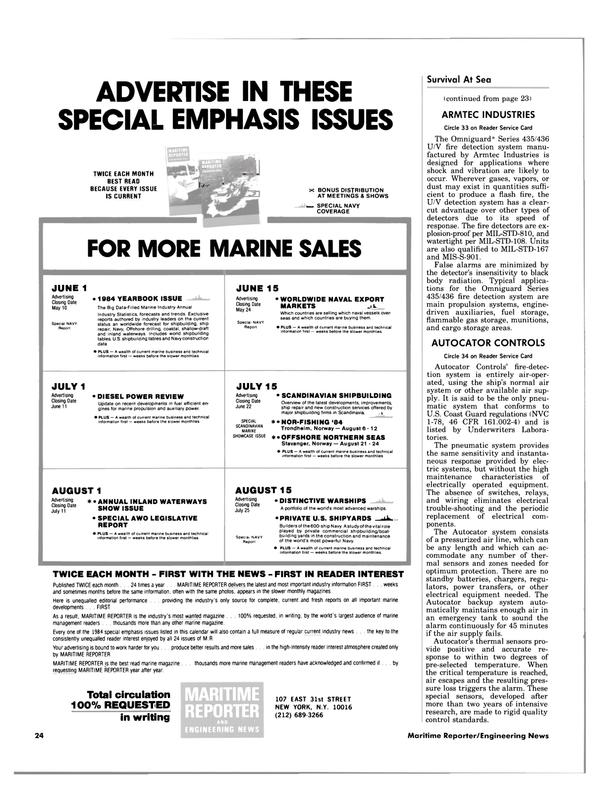Maritime Reporter Magazine, page 22,  Apr 15, 1984